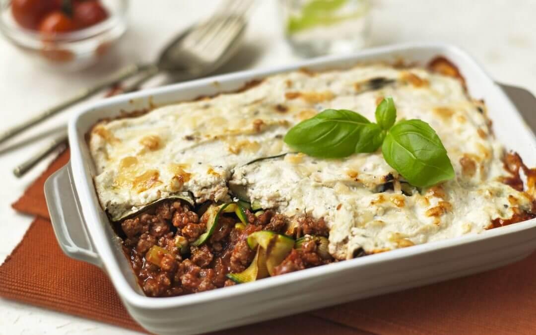 Lasagne van Quorn Vegetarisch Fijngehakt en courgette