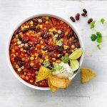 Chili sin carne met kidneybonen en kikkererwten