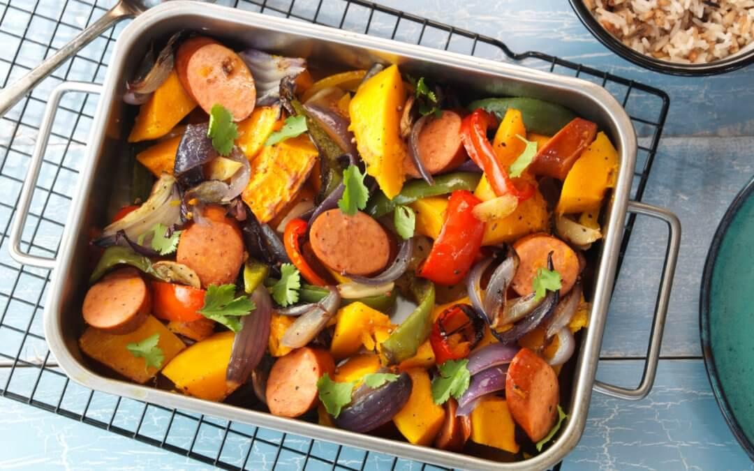 Pompoen ovenschotel met vegetarische rookworst