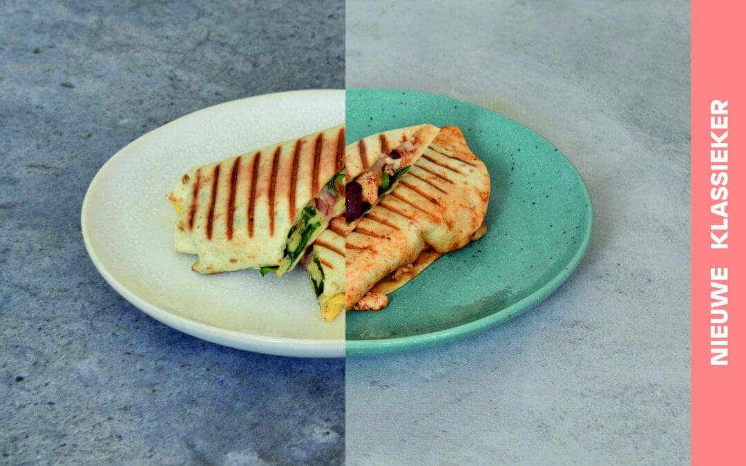 Breakfast burrito met scrambled tofu en avocado