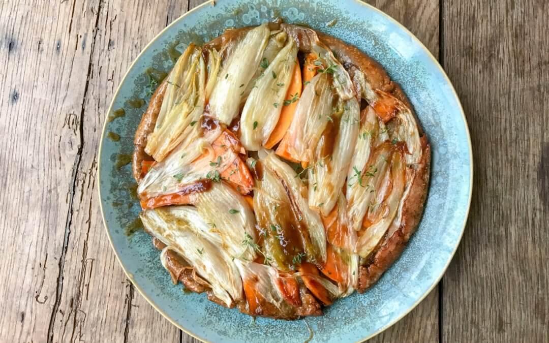 Tarte Tatin van witlof met bietensalade