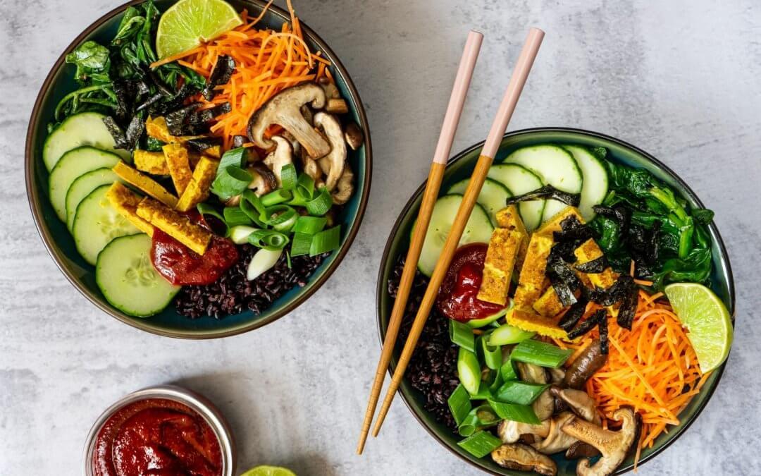 Plantaardige bibimbap bowl