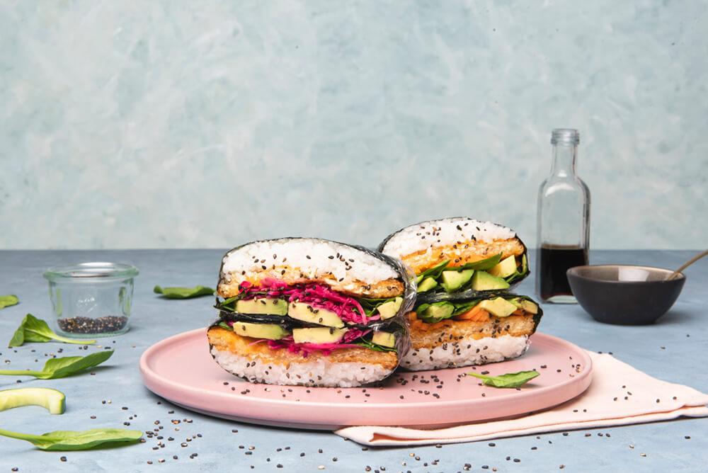 Sushi sandwich met SoFish Burger