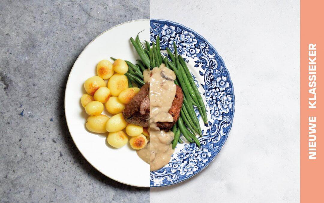 Biefstuk met krieltjes, haricot verts en champignonsaus