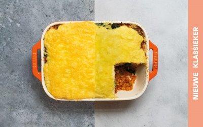Lasagne met rode linzen, spinazie en bechamelsaus