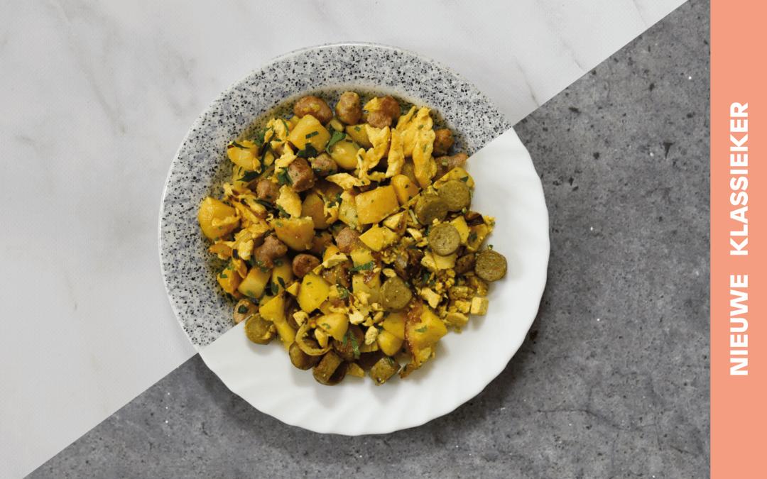 Rösti met curryworsten, aardappel en ui