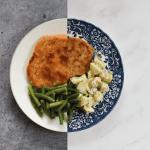 Schnitzel met aardappelsalade en sperziebonen
