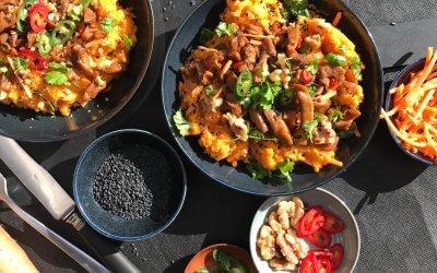 Pittige zoete aardappel & wortel stamppot met Zpekjes