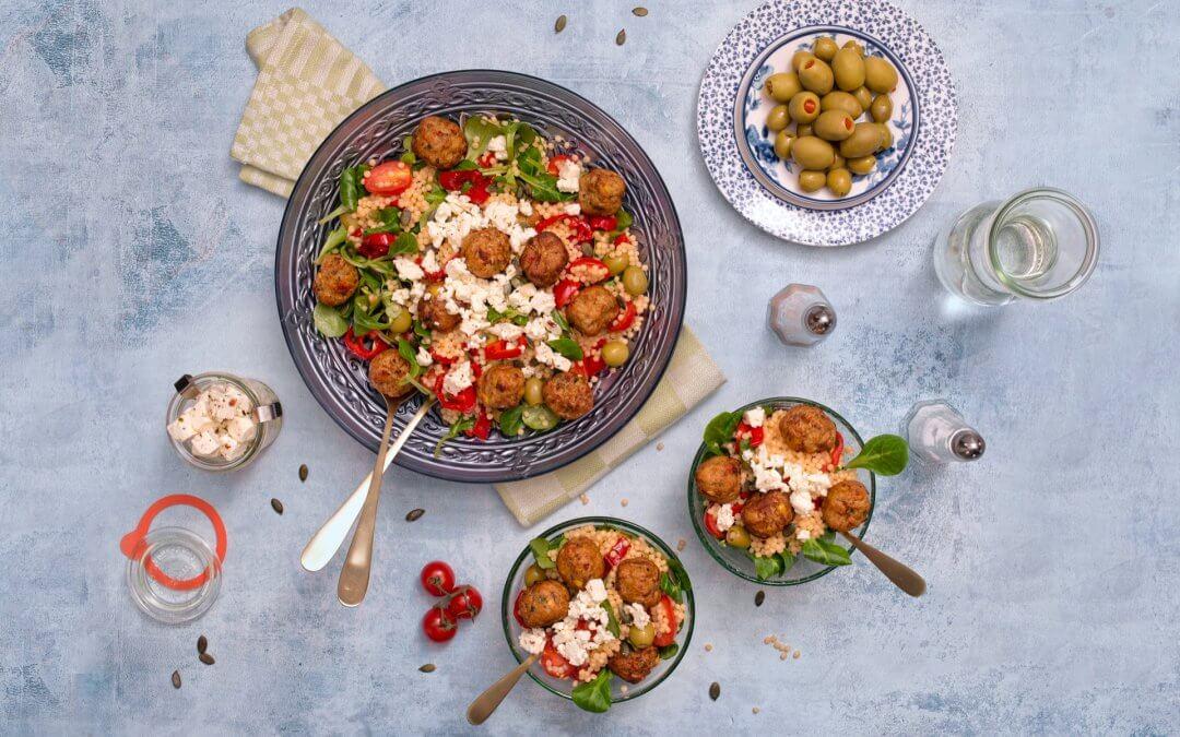 Parelcouscous salade met GoodBite groenteballetjes