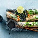 Springrolls met gemarineerde tofu en tuinerwten