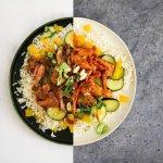"""Cola """"kip"""" met geroerbakte groenten en rijst"""