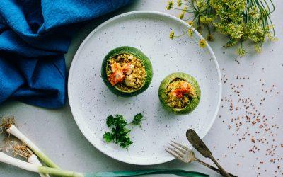 Gevulde courgette met quinoa en vegan kaas