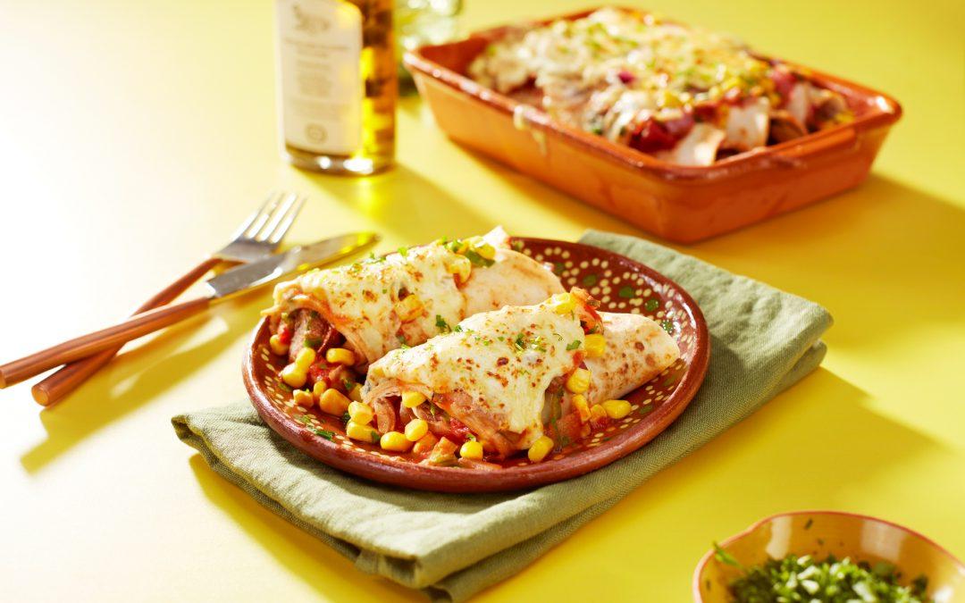 Vegetarische enchiladas met maïs
