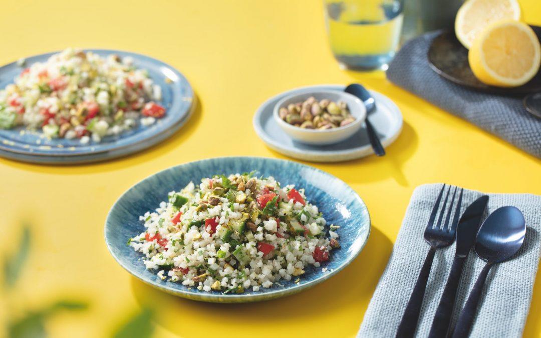 Tabouleh van bloemkoolrijst met pistache